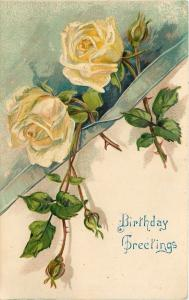 Yellow Roses Tucked in Lime Ribbon~Full Blooms Buds & Thorns Hang Down~Embossed