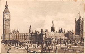uk38973 houses of parliament and westminster abbey london real photo uk lot 19 u