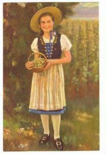 Girl holding basket of grapes, Switzerland 20-40s