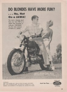 Jawa Trials Motorcycle 1966 Print Ad, Do Blondes Have More Fun?
