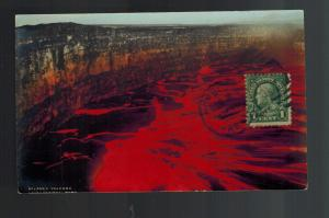 1906 Honolulu Hawaii Kilauea Volcano Erupting Crater Color Picture Postcard