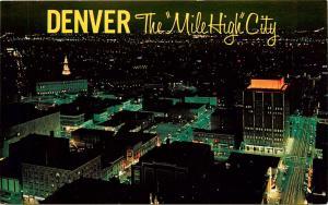 Denver Colorado Night Aerial View Mile High City CO Postcard