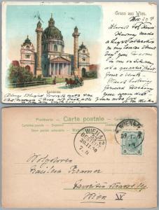 GRUSS AUS WIEN KARLSKIRCHE AUSTRIA 1900 ANTIQUE POSTCARD w/ STAMP