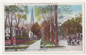 P1221 old unused  postcard old car delaware ave buffalo new york