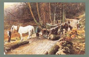 Nostalgia Postcard 1900 Mishap Small 2 Wheeled Timber Carriage in the Woods NS17
