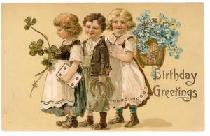 Birthday Greetings Children Forget Me Not Horse Shoe Postcar
