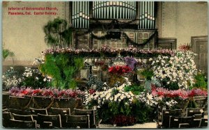 1910s Pasadena, California Postcard Interior Universalist Church HAND-COLORED
