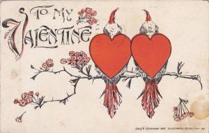 To my Valentine, Two heart birds on a branch, PU-1912
