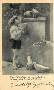 RPPC Dutch Girl, Fransje Offers Milk: Come, Dove, Drink but Do Not Be Afraid.