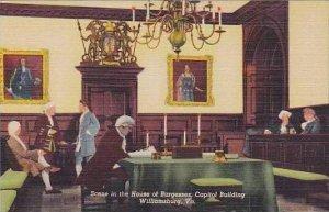 Virginia Williamsburg Scene In The House Of Burgesses Capital Building