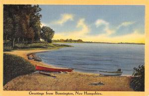 Bennington New Hampshire Row Boat Waterfront Greeting Antique Postcard K93832
