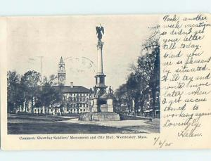Pre-1907 CITY HALL AND MONUMENT Worcester Massachusetts MA A2268