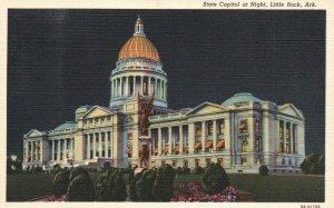 Little Rock, AR, State Capitol at Night, 1939 Linen Vintage Postcard g8396
