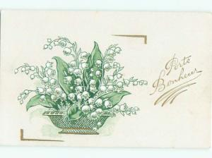 foreign c1910 Postcard LILY OF THE VALLEY FLOWERS IN DISH AC3459
