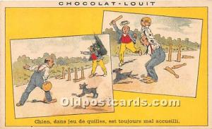 Old Vintage Bowling Postcard Post Card Chocolat Louit, Chien Trade Card,  Non...