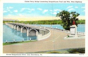 Pennsylvania Harrisburg Clarks Ferry Bridge Across Susquehanna River Curteich