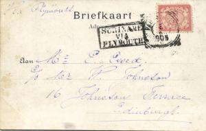 suriname, PARAMARIBO, Station Frederiksdorp (1905) Stamp Cancel