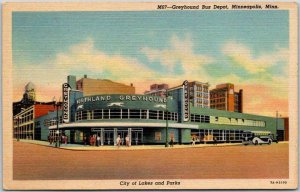 1940s MINNEAPOLIS, Minnesota Postcard GREYHOUND BUS DEPOT Art Deco Bldg. Linen