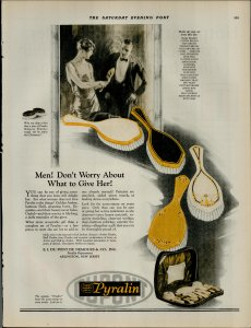 1924 Pyralin Ivory Amber Shell Brushes For Women Vintage Print Ad 3964