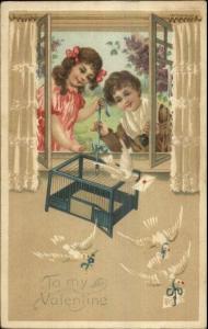 Valentine - Children Release Doves Birds c1910 Postcard