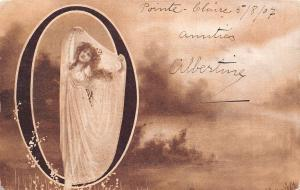 Alphabet Initial Series~Large Letter Sepia & White O~Lovely Lady~Warwick 1907