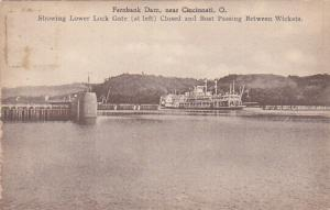 CINCINNATI, Ohio, 1900-1910s; Fernbank Dam, Showing Lower Lock Gate (At Left)