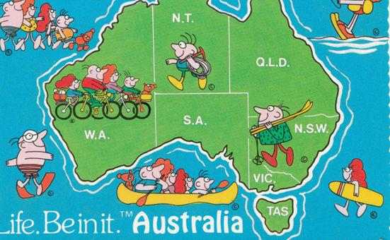 Australia Cycling Bicycle Surfing Sailing Map Comic Australian Postcard
