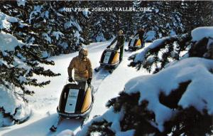 Jordan Valley Oregon~Snow Mobiling in Beautiful Evergreen Forest~c1960s Postcard