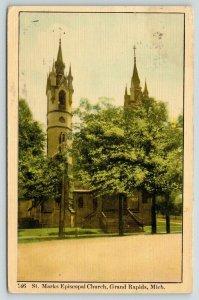 Grand Rapids Michigan~St Mark's Episcopal Church~Fancy Double Steeple~1908
