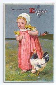 Easter Postcard Girl Chicks Hen Vintage Nash Embossed Litho