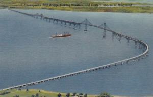 Maryland Chesapeake Bay Bridge 1959 Curteich