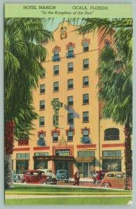 Ocala Florida~Hotel Marion~Bellhop on Sidewalk~Guest Walking~Cars Parked~1940s