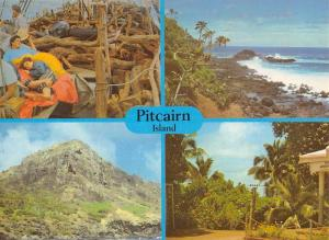 Pitcairn Island Scenic Multiview Palm Trees Vintage Postcard K30544