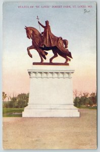 St Louis Missouri~Forest Park~Equestrian Statue of St Louis~c1910 Postcard
