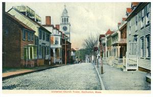 Massachusetts  Nantucket  Street  and Unitarian Church Tower