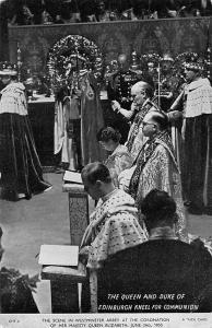 Coronation Day, Queen Elizabeth II and Duke of Edinburgh Kneel for Communion