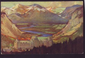 P1427 vintage unused art postcard baniff springs hotel, baniff alberta canada