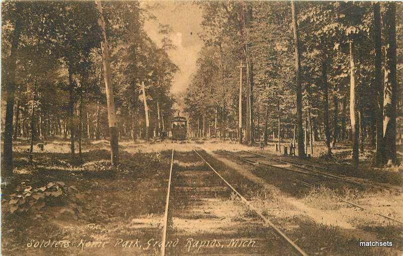 1908 Trolley GRAND RAPIDS, MICHIGAN Soldiers Home Park postcard 749