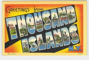 BIG LARGE LETTER VINTAGE POSTCARD GREETINGS FROM NEW YORK THOUSAND ISLANDS 1000