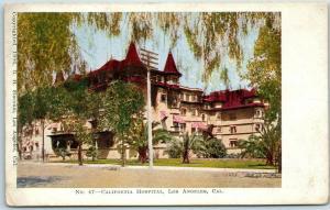 1900s Los Angeles, CA Postcard CALIFORNIA Hospital Building Street View UNUSED