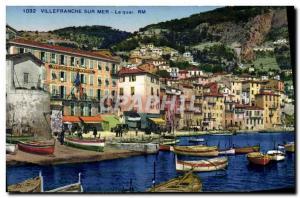Old Postcard Villefranche Sur Mer Boat Quay