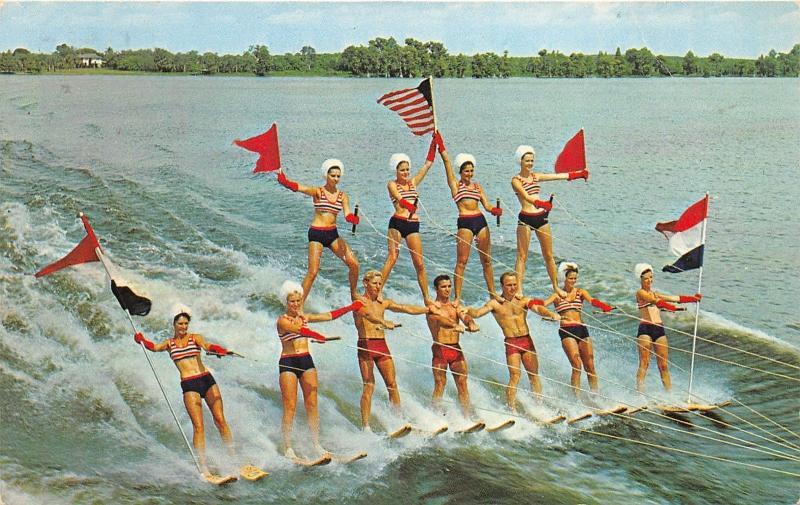 Pyramid of Aqua Skiers at Florida Cypress Gardens FL Water