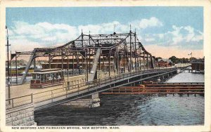 New Bedford Fairhaven Bridge Streetcar New Bedford Massachusetts 1920c postcard