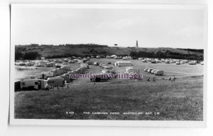 iw0170 - Isle of Wight - The Caravan Park at Whitecliff Bay, c1950/60 - postcard