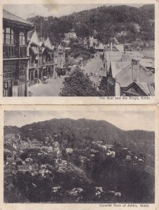 Simla The Mall & Ridge Jakko Aerial 2x Indian Antique Postcard s