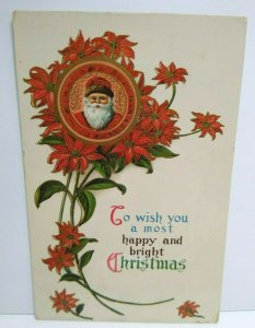 Santa Christmas Greeting Postcard Poinsettias Gel Coat Vintage Original Jmport