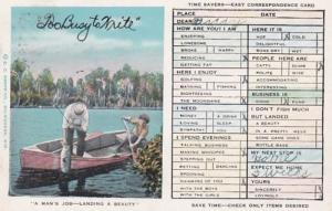 Humour Busy Persons Correspondence Card Fishing Scene 1917