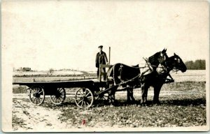RPPC Real Photo Postcard FARM SCENE / Farmer on  Horse Wagon c1910s Unused