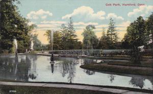 HARTFORD, Connecticut, PU-1913; Colt Park, Lake, Fountains, Bridge