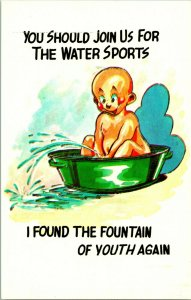 Comic Postcard Baby in Tub Join Us Water Sports Vintage Walt Munson UNP Chrome